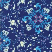 Manderley by Franny and Jane - 5039 - Sky Blue Seaside Floral on Navy - 47503 13 - Cotton Fabric